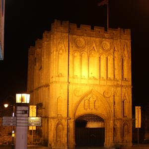 Abbey Gate and Pillar of Salt at night