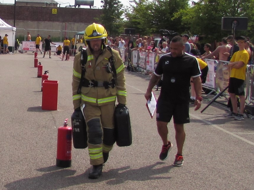 Participants in the British Firefighter Challenge 2018
